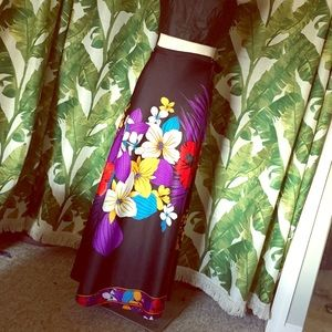 Vintage 70s Palm Print Wrap maxi Skirt Hawaiian 🌺